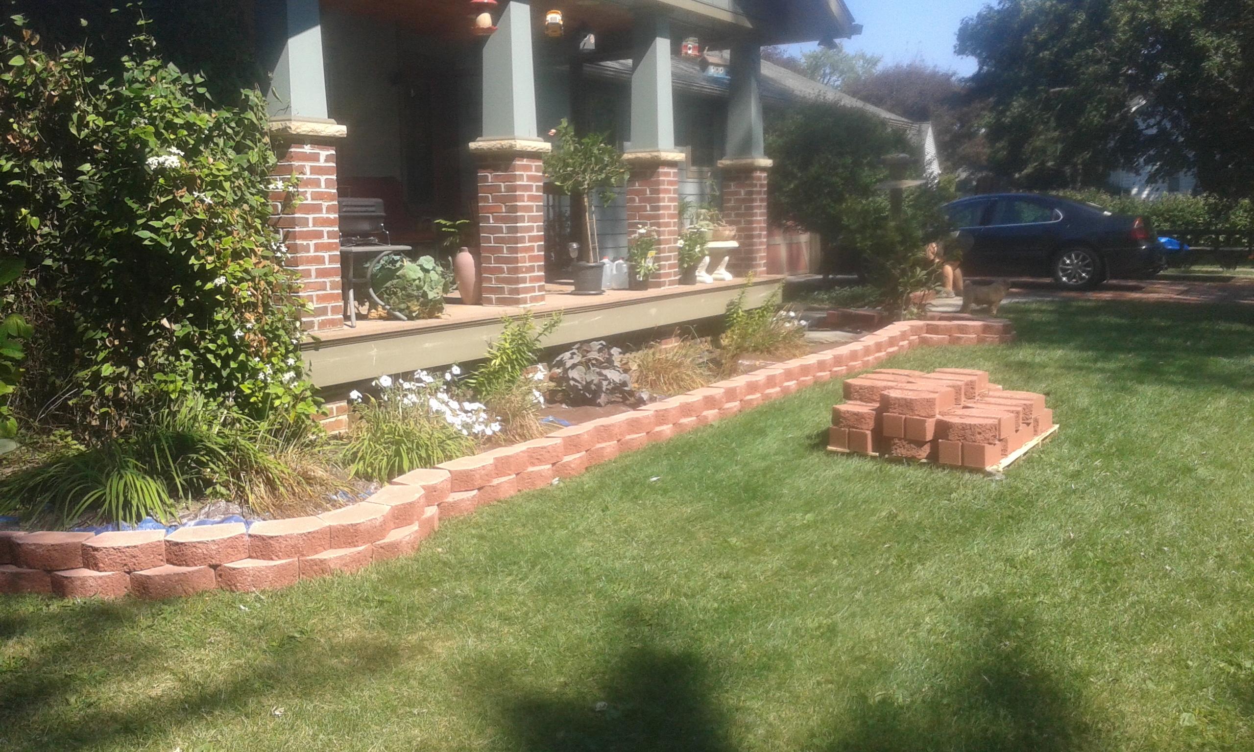 Installing landscape bricks after creating line